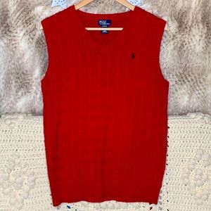 Polo by Ralph Lauren Cable Knit Red Vest